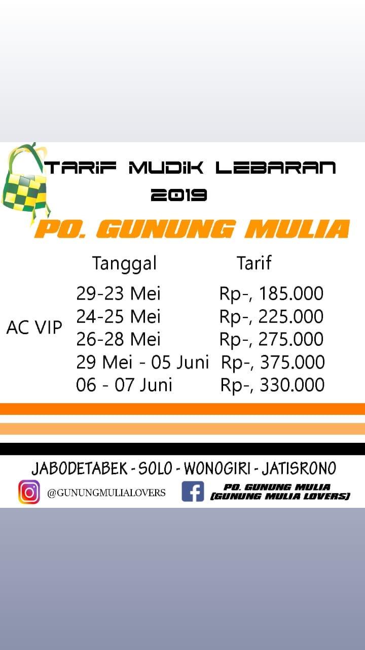 Harga Tiket Tarif Bus Gunung Mulia Mudik Lebaran 2019